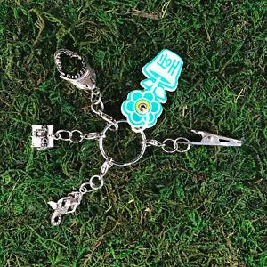 HOTI Handmade Buried Treasure Keychain Mermaid Shark Roach Clip Charms Key Chain