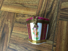 Hand Painted Floral & Gold Hinged Trinket Dresser Ring Box & Dish Limoges France