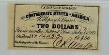 Pmg Unc. 63 Epq Confederate States of America Bond Coupon, $2 Bond for $50, 1861