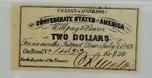 Confederate States of America Bond Coupon $2 Bond for $50 1861 PMG UNC 63 EPQ