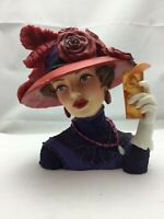 "Cameo Girls Deluxe Lady Head Vase Blythe 1915 ""Lady in Red"" COA Limited Edition"