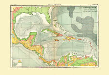 1896 Color Sea Depth & Land Elevation Map of the WEST INDIES