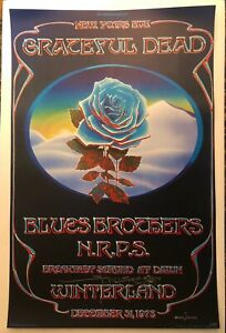 "MINT 1978 GRATEFUL DEAD ""BLUE ROSE"" CLOSING OF WINTERLAND POSTER SIGNED MOUSE!"