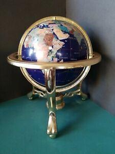 "Revolving Gemstone World Globe On Brass Stand Large 9"" Globe 13"" Tall w/Compass"