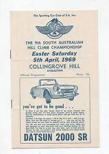 1969 Collingrove Hill Climb Programme Touring Racing Sports Vintage Program
