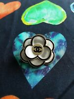 1 STAMPED  One Auth   Chanel button 1 pcs   CC   32 mm Camellia