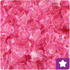 250 Pink Transparent 13mm Star Pony Beads Plastic Made in the USA