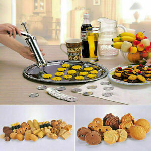 25 Pcs Biscuit Maker Cookies Press Cake Decorator Pump Machine Kit Syringe Gun