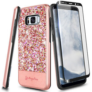 For Samsung Galaxy S8/ S8 Plus Case, Glitter Phone Cover With Screen Protector