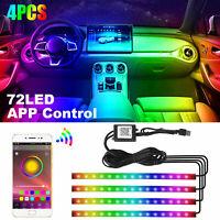 4PCS 72 LED RGB 5050 Car Interior Atmosphere Neon Lights Strip Music APP Control