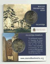 "Pièce commémo 2 euros coincard  Malte 2016 "" Temples de Ggantija & poinçon MDP"""