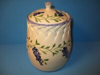 "Casafina Portugal Pottery Ceramic MEDIUM Canister Jar w/Lid Grapes 7 1/2"" High"