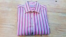 Ted Baker Shirt Size 4 UK L Pink Striped Floral Design Excellent Condition