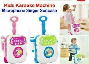 Kids Karaoke Singing Machine Microphone Singer Suitcase Toy Play Set Music LED