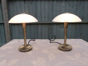 PAIR OF MODERN DECO STYLE BRUSHED BRASS&GLASS TOUCH CONTROL BEDSIDE TABLE LAMPS