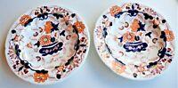 Antique Vintage English Porcelain Regency Imari Set of 2 Soup Plate Dish C.1830