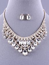 Crystal Clear Bib Necklace Set Earring Bridal Formal Gold Tone Fashion Jewelry