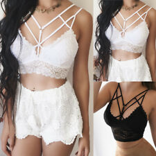Women Lace Floral Underwear Solid Bralette Bralet Bra Bustier Crop Top Cami Tank