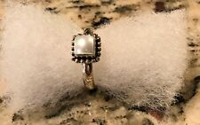 Silpada R1617 Sterling Silver Button Framed Freshwater Pearl Ring Size 9 New
