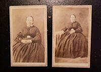 Civil War CDV of a Beautiful Older Lady! TWO CDVs. Full Length. Sitting Poses.