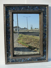"32"" PUNCHED TIN MIRROR with Mexican vitro glass, hacienda style, handmade"
