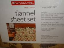Autumn Leaves Fall Flannel Sheet Set Twin Size 100% Cotton Bedding Rustic Cabin