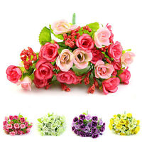 EG_ BA_ 21 HEADS ARTIFICIAL ROSES BRIDAL HOME WEDDING PARTY DECOR FAKE FLOWERS C