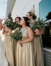NWT Bill Levkoff 10 12 BHLDN Gold Sequin Formal Dress Evening Gown Full length