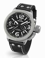 Mens TW Steel 50mm Canteen Black Leather Black Dial Date Chronograph Watch CS4
