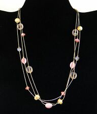18� Necklace Signed Ny~New York & Co. Triple Strand Pearl & Pink Coral Beads