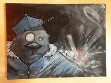 toile Graffiti originale - peinture signée - graff hiphop chien casquette canvas