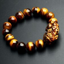 Feng Shui 12mm Yellow Tiger's Eye Stone Pi Yao /Pi Xiu Bracelet For Wealth Luck
