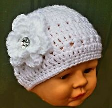 HANDMADE BABY CHRISTENING HAT white diamante floral beanie romany bling booties