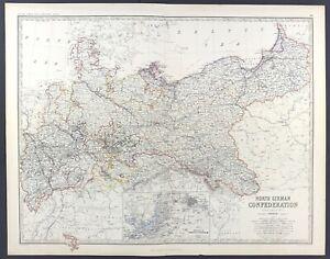 Large Antique Map of North Germany c1869 Keith Johnston Royal Atlas original