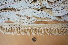FRINGE TASSLE 2 METRES. IVORY for cushions/curtains/clothes etc. COTTON!