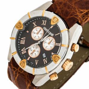 New Roberto Cavalli R7251616055 Diamond Time Chronograph Date Crocodile Watch