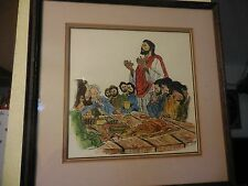 "Watercolor Painting of ""Jesus breaks bread with the disciples"" Signed T. Brandt"