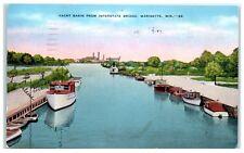 1940 Yacht Basin from Interstate Bridge, Marinette, WI Postcard