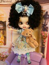 Customized  Blyth, Blythe Doll  with Teeth, DRESSED  AS SEEN w/ Teddy Bear Icy
