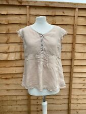 Oska Beige V Neck Blouse Size 12 Short Sleeve Button Up Shirt Size 2 B43