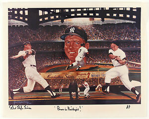 1993 Mickey Mantle Orig Artist Proof Lithograph Signed by Artist Robert S. Simon