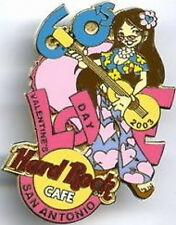 "Hard Rock Cafe SAN ANTONIO 2003 Valentine's Day PIN '60s Girl Play Guitar ""LOVE"""