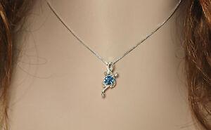 London Blue Topaz .70 ct Fancy Pendant / Necklace - Sterling Silver