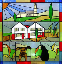 Framed Print - Stained Glass Window Dog Cat Town House (Picture Animal Bird Art)