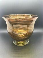 Hand Blown Gold and Brown Swirl Bowl Vase Metallic