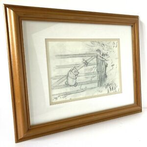 Winnie The Pooh & Piglet On The Gate Sketch Drawing Wooden Framed E H Shepherd