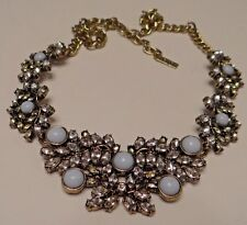 Vintage Necklace Rhinestones with Blue Cabochons Lucite