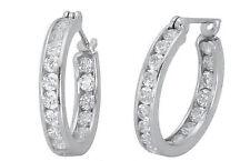 Hoop White Gold SI1 Huggie Fine Diamond Earrings