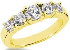 1.07 ct 5 Round Diamond Engagement Ring Wedding Band 14K Yellow Gold SI1 clarity