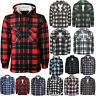 LUMBERJACK FLANNEL WORK SHIRT PADDED JACKET QUILTED LINED & FUR BUTTONED & ZIP